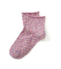 HUE® Huetopia Begonia Space Dye Roll Top Shortie Socks