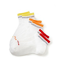 HUE® 3-pk. Quarter Top Crew Socks - Bold Stripe