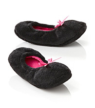 Fuzzy Babba® Solid Pink Bow Slippers - Black