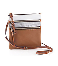 Dooney & Bourke® North South Triple Zip - White/Silver/Saddle Tan