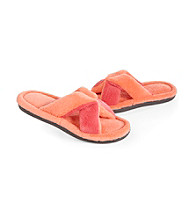 Isotoner® Microterry Color Blocked Crossover Slide Slippers