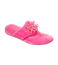 Dearfoams Microfber Terry One Piece Embellished Flip Flop Slippers