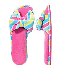 Dearfoams Pink Microfiber Terry Open Toe Bow Scuff Slippers