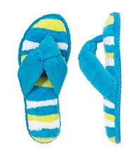 Dearfoams Microfiber Terry Striped Footbed Flip-Flops