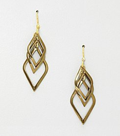 Silver Forest® Triple Bronze Kite Shape Earrings