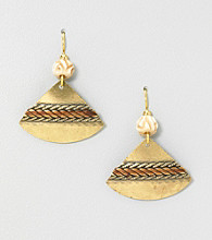 Silver Forest® Gold and Brown Pizza Shape Earrings