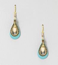 Silver Forest® Two Layers Blue and Goldtone Teardrop Earrings