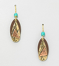 Silver Forest® Brown, Goldtone and Copper Layered Earrings