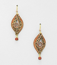 Silver Forest® Brown and Goldtone Braided Layered Shapes Earrings