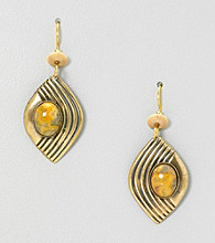 Silver Forest® Goldtone and Agate Earrings