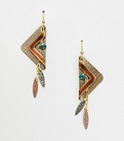 Silver Forest® Brown and Goldtone Folded Triangle Earrings