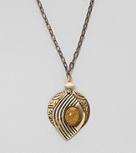 Silver Forest® Goldtone and Agate Necklace