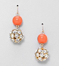 Relativity® Two Bead Drop Earrings with Goldtone Pave Bead
