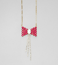 Relativity® Ombre Bow and Rhinestone Tassel Necklace