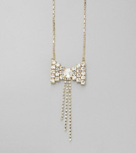 Relativity® Crystal Ombre Bow and Rhinestone Tassel Necklace