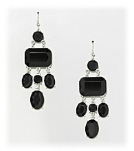 Relativity® Black and Silvertone Chandelier Earrings