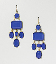 Relativity® Blue and Silvertone Chandelier Earrings