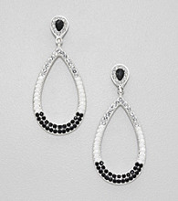 Relativity® Black and White Teardrop Earrings