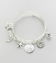 Relativity® Silvertone Coil Bracelet with Charms and Beads