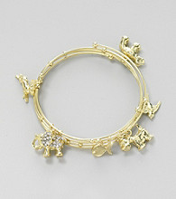 Relativity® Goldtone Coil Bracelet with Charms and Beads