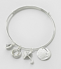 Relativity® Silvertone Coil Bracelet with Charms