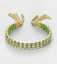 Relativity® Goldtone and Lime Fringe Bracelet