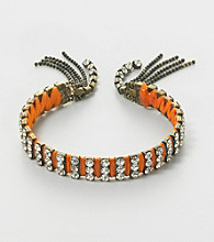 Relativity® Silvertone and Orange Fringe Bracelet