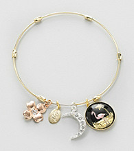 Relativity® Goldtone and Flamingo Charm Bracelet
