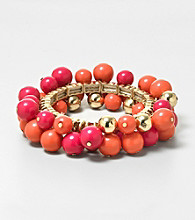 Erica Lyons® Orange and Pink Shockwave Stretch Bracelet