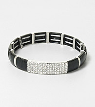 Erica Lyons® Black and Silvertone Stretch Bracelet