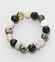 Erica Lyons® Black, White and Silvertone Stretch Bracelet