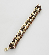 Erica Lyons® Brown and Goldtone Chain Bracelet