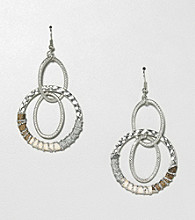 Erica Lyons® Brown Multi Sahara Double Drop Pierced Earrings