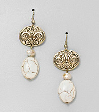 Erica Lyons® Cream Sahara Double Drop Pierced Earrings