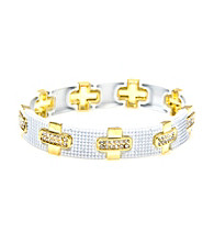 L&J Accessories White Mesh Goldtone Link Bangle