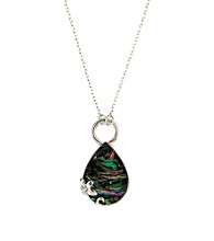 Nine West Vintage America Collection® Silvertone Convertible Abalone Pendant Necklace