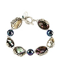 Nine West Vintage America Collection® Silvertone Abalone Line Bracelet
