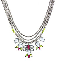 Jessica Simpson Tropic Nights Silvertone, Pink and Yellow Drama Necklace