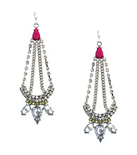 Jessica Simpson Tropic Nights Silvertone and Fuschia Chandelier Earrings