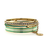 Jessica Simpson Colorwheel Mint and Goldtone Bangle Set