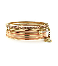 Jessica Simpson Colorwheel Peach and Goldtone Bangle Set