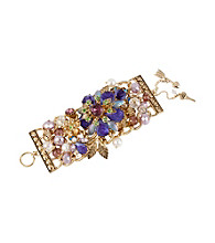 Betsey Johnson® Purple Carved Flower Wide Toggle Bracelet