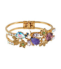 Betsey Johnson® Purple Carved Flower Bug Hinged Bangle Bracelet
