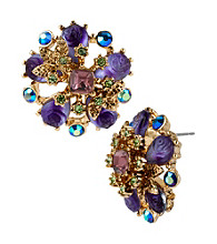 Betsey Johnson® Purple Flower Medallion Stud Earrings