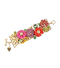 Betsey Johnson® Multi Colored Flower Wide Toggle Bracelet