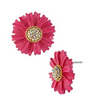 Betsey Johnson® Pink Flower Stud Earrings