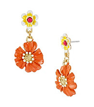 Betsey Johnson® Orange Flower Drop Earrings