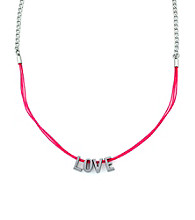 BCBGeneration™ Pink and Silvertone Love Mini Affirmation Necklace