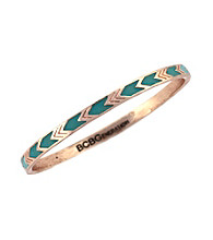 BCBGeneration™ Rose Goldtone and Blue Chevron Bangle