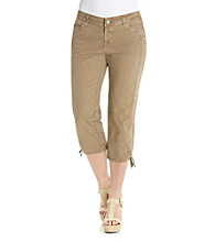 DKNY JEANS® Tie Bottom Poplin Cargo Crop